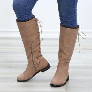 Taupe Warm Winter Mid Calf Lace Back Boots